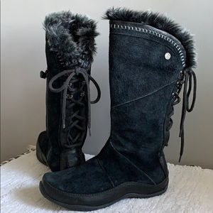 The North Face Black Suede Tall Fur Boots size 6